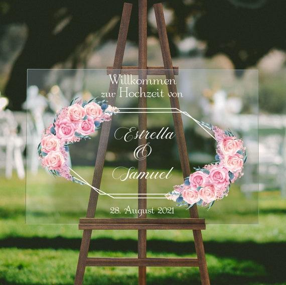 Acryl Hochzeitsschild, Rosen Hochzeit, Plexiglas Hochzeitsdeko, Willkommen zur Hochzeit, Willkommensschild, Personalisiert