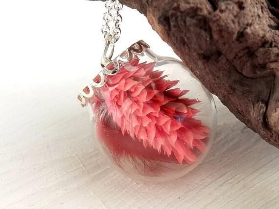 Echte Blüten Kette, Süßgras Kette, Samtgras, Glaskugel Schmuck, Blumenschmuck, Naturschmuck, Geschenk für Frauen