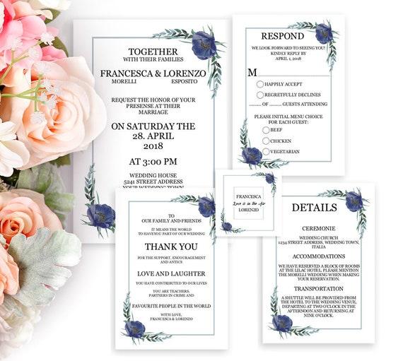 Hochzeitseinladungen Set, Hochzeitskarten selbst gestalten, Einladung Hochzeit, Einladungskarten, Editierbare Design Vorlage, DIY Hochzeit