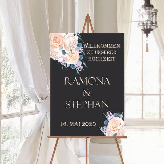 Hochzeitsschild personalisiert, Willkommensschild schwarz und Rosen, Poster Willkommen zur Hochzeit