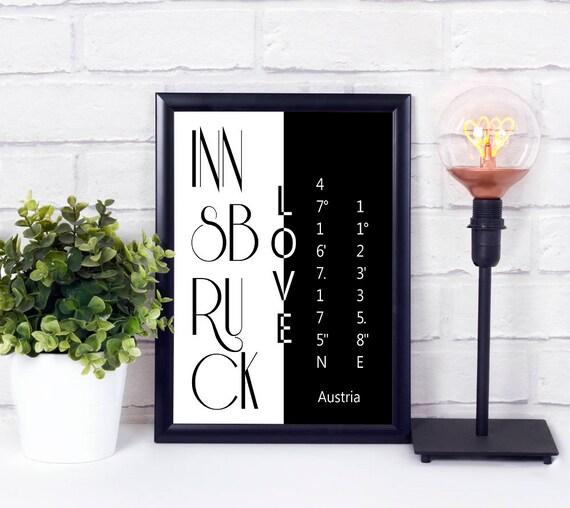 Innsbruck Koordinaten Poster, Koordinaten Print, Stadtliebe Poster, Digitaldruck, Geschenk zum Umzug, Sofort Download, Wandkunst, Neues Haus