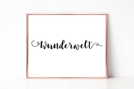 Wunderwelt Poster, Digitaldruck, Deutsches Wort Poster, druckbares Schild, Wandkunst, Wortkunst, Wohndekor, Sofort Download