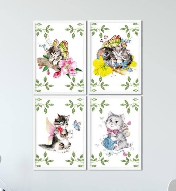 Katzen Poster Set, Kinderzimmer, Tiere Bilder 4-er Set, Babyzimmer