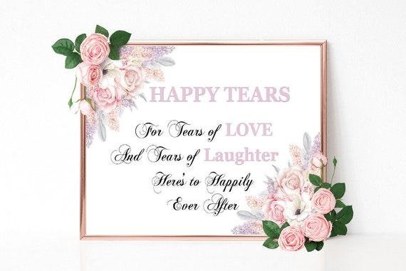 Freudentränen Hochzeitsschild, Tears of Love, Tränen Schild, Hochzeitsdeko, Taschentuch Dekoschild, Florale Hochzeit, Empfang, Bridal Shower