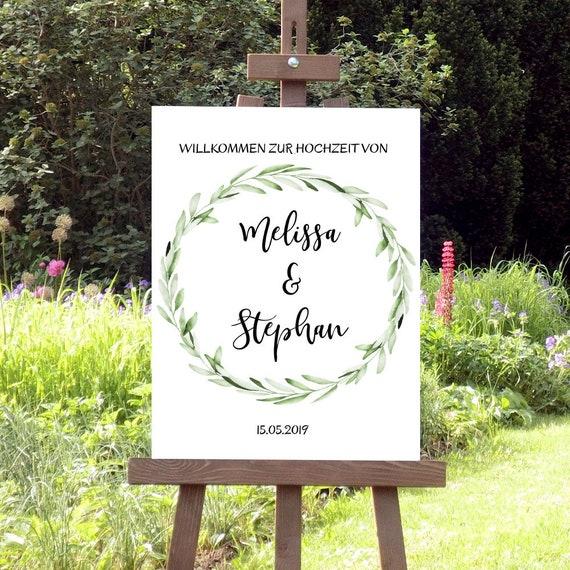 Willkommen Hochzeitsschild, Grüne Zweige Hochzeit, Laub, Botanische Hochzeit, Florale Hochzeit, Empfang Poster, Leinwand, Geburtstag