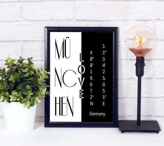 München Koordinaten Poster, Stadtliebe Poster, Digitaldruck, druckbare Wandkunst, Geschenke zur Einweihung, Sofort Download