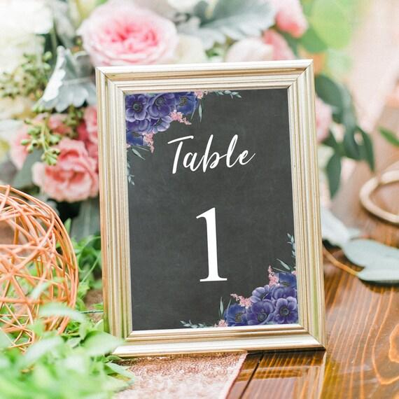 Tischnummern Hochzeit, Tischnummer Karten, Druckbare Hochzeitsdeko, Tischdeko, Editierbare PDF Vorlage, 4x6, 5x7, Sofort Download