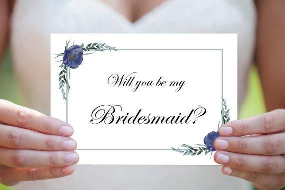 Willst du meine Brautjungfer sein, Brautjungfer Karte, Druckbare Einladung Hochzeit, Sofort Download, Brautjungfer Einladung, 5x7 / 4x6