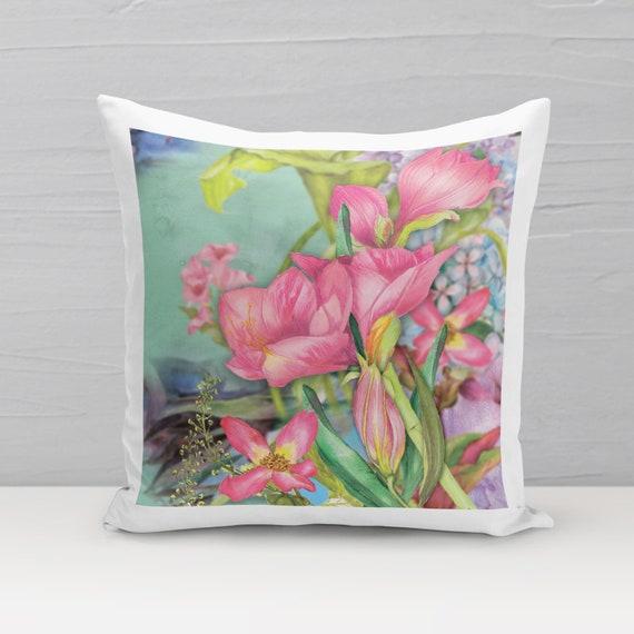 Deko-Kissen, Blumen B, Kissen mit Füllung, Kissenbezug, 40x40, Sofakissen, Wohndeko, Blumen