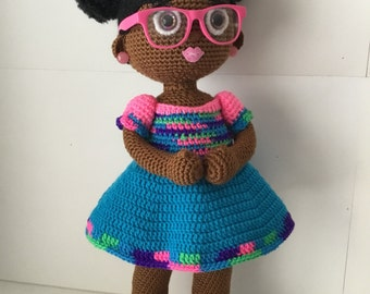 Crochet Doll with Two Afro Puffs