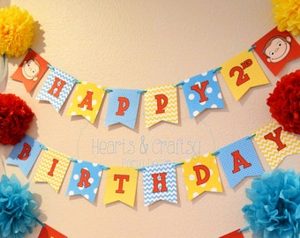 Curious George Birthday FILE to PRINT Happy Birthday Banner / Curious George Birthday Party - DIY