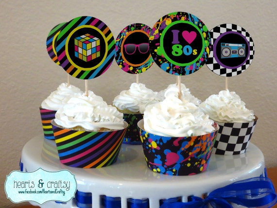 neon 80s party cupcakes 80s birthday cupcake toppers wrappers