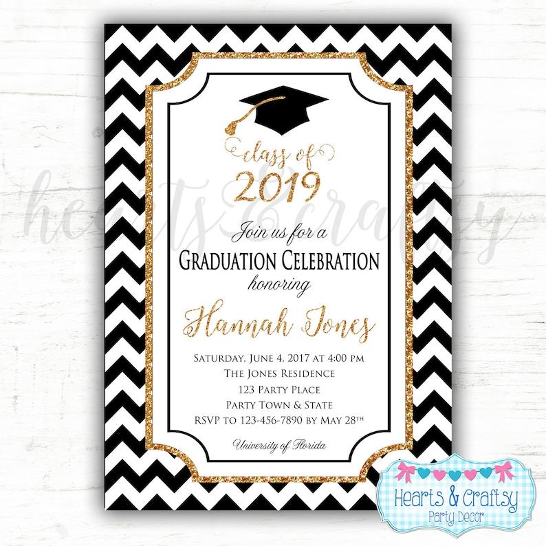 Of Gold Graduation Party Invitation 2019 High Class Digital Glitter School Sparkle File College RLcAj54q3