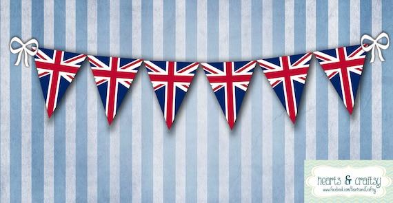 image about Printable British Flag named United kingdom British Flag Union Jack Celebration Banner Bunting - Printable