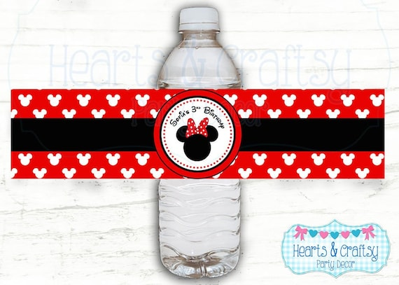 picture about Free Printable Minnie Mouse Water Bottle Labels named Minnie Mouse H2o Bottle Labels / Minnie Mouse Consume