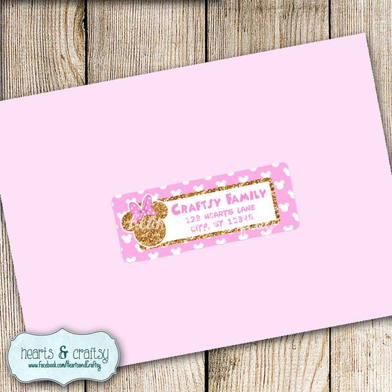 FILE to PRINT Pink and Gold Glitter Minnie Mouse Party Address Labels and Envelope Seal  Envelope Labels  Glitter Minnie Birthday