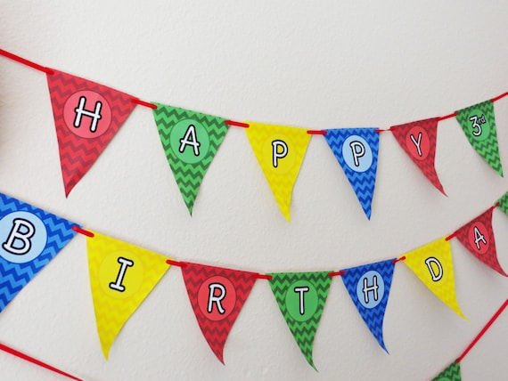 primary colors chevron happy birthday banner lego birthday banner red yellow green blue. Black Bedroom Furniture Sets. Home Design Ideas