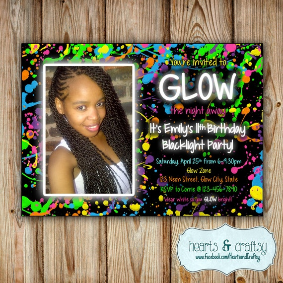 Glow In The Dark Party Invitation Neon Birthday Invitation Etsy
