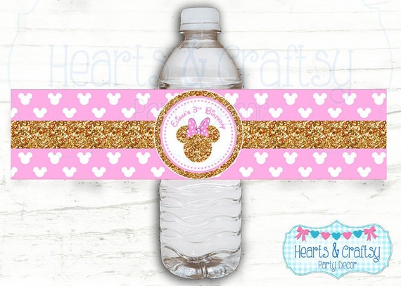 picture relating to Free Printable Minnie Mouse Water Bottle Labels identified as Glitter Minnie Mouse H2o Bottle Labels / Consume Wrapper