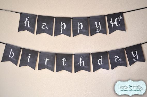 Chalkboard Happy Birthday Banner Rustic