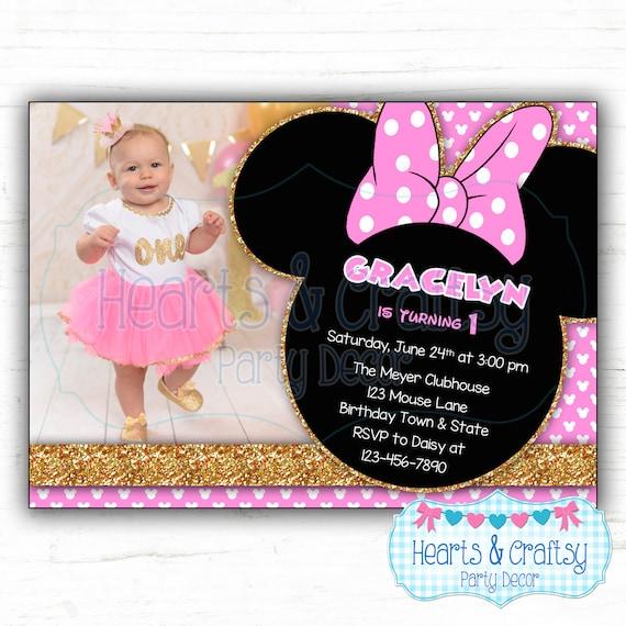 Glitter Minnie Mouse Party Invitation