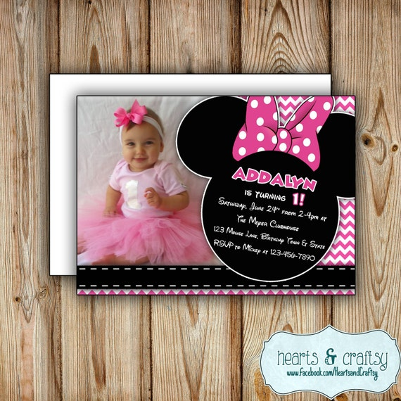 Personalized Printable Minnie Mouse Party Invitation Minnie Mouse