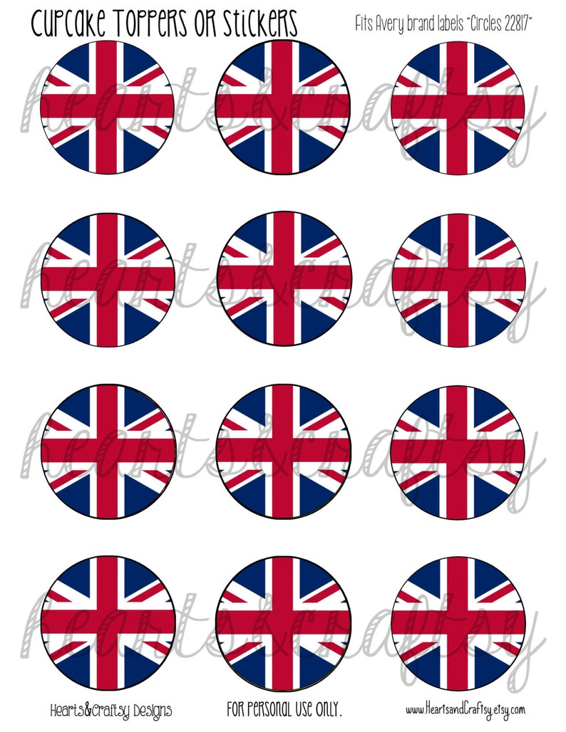 image about Printable British Flag known as United kingdom Get together British Flag Union Jack Printable Cupcake Toppers Tea Cake Topper / Stickers / Tags - History in direction of PRINT