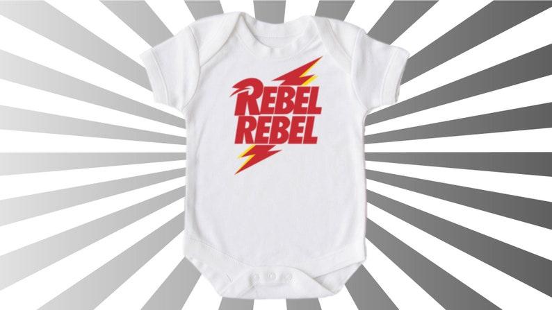 Rebel Rebel T-shirt Vest Bodysuit Onesie Music Band David Bowie Babygrow Fun Cool Edgy Gift Unisex Boy Girl