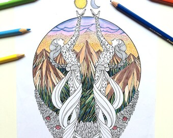 Coloring page - Elves and Mountains