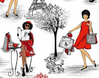 PARIS, Shopping, the lady in red with dog, 0.5 meters cotton fabric, Timeless Treasures