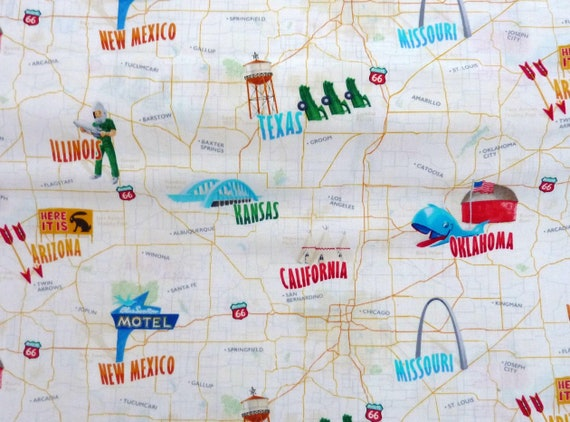 Route 66, America, road Map, Timless, Patchwork, globetrotter,, 1 meter