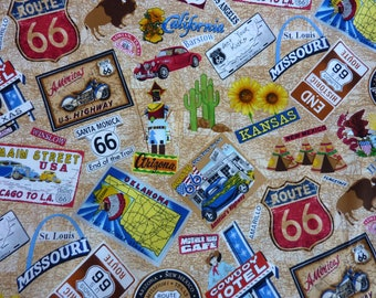 Route 66, America, Road Map, Motorcycles, Road Trip, Patchwork, 1 Meter Cotton