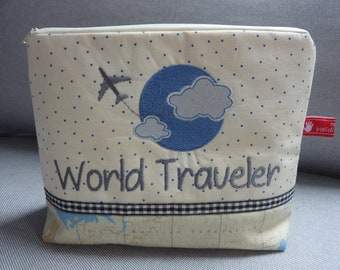 World Traveler, cosmetic bag, globetrotter, globe, embroidered text