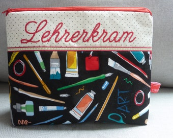 Teacher's Stuff, Art Lessons, The Artist, Colors and Brushes, Cosmetic Bag, Embroidered Text,