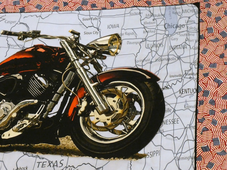 Motorcycle Map Handmade Quilt Route 66 On the Road Again Harley