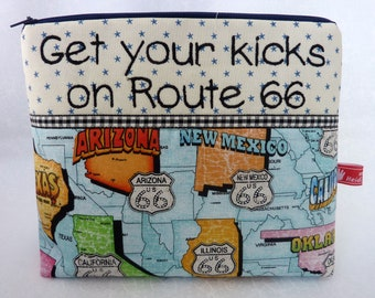 Cosmetic Bag, Route 66, Get your kicks on route 66, embroidered text, Hit the road