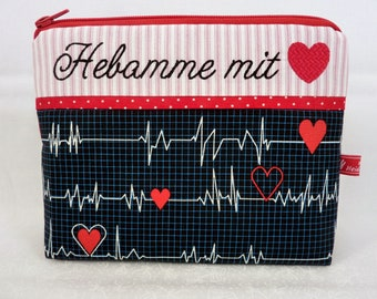Cosmetic Bag, Calling all Nurses, Midwife with Heart, First Aid, Embroidered Text