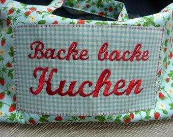 Cake carrier bag, bake bake cake, cake bag, transport box with embroidery