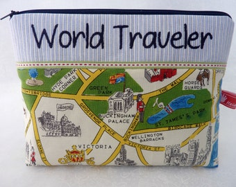LONDON, World Traveler, Cosmetic Bag, England,, Embroidered Text