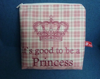 Cosmetic bag, queen, princess, culture bag, embroidered text, It's good to be a Princess