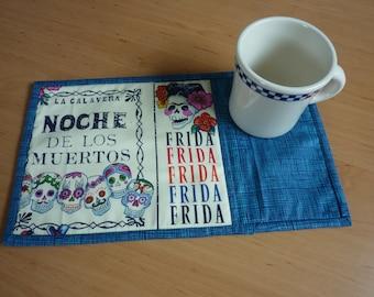 Mug Rug, placemat, Alexander Henry, Mexico, painter, Noche de los Muertos, coffee cup, coffee mug, placemat