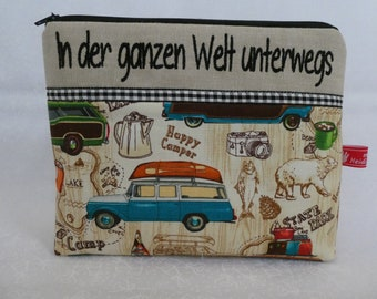 Happy Camper, Cosmetic Bag, Home Sweet Home, Globetrotters, Travel all over the world, embroidered text