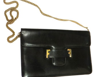 12b6db8556 Vintage 1970s 1980s Black Leather Italian Salvatore Ferragamo Detachable  Chainlink Envelope Clutch Evening Bag