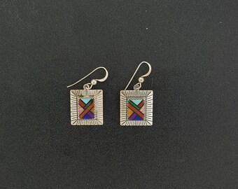 Vintage Multistones rectangle dangle earring