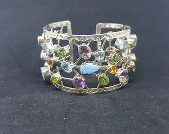 Natural Opal Amethyst Blue Topaz Citrine Peridot sterling silver cuff bracelet