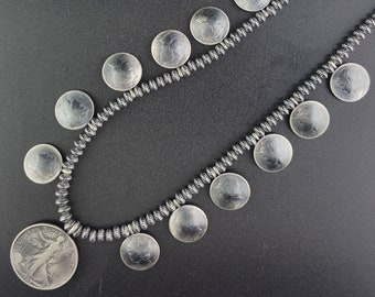 20 inches small graduated Navajo pearl sterling silver necklace 12 Mercury dime coins 1943 Liberty Half Dollar pendant