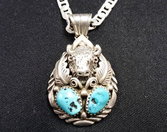 VINTAGE Navajo Buffalo Necklace with two 10 mm turquoise stones