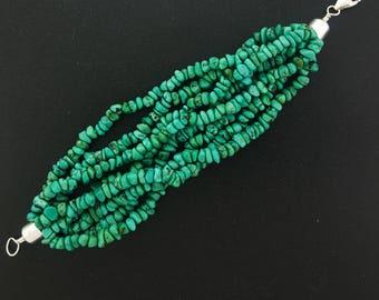 sterling silver Turquoise beaded Bracelet - 8 Strands