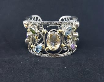 Natural Citrine Blue Topaz Amethyst Peridot sterling silver cuff bracelet