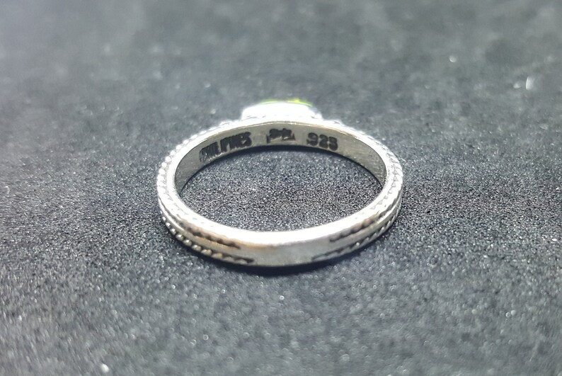 Simple thin Gaspeite sterling silver ring